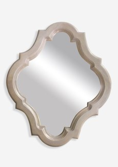 "32""x26"" Diamond Shape Mirror with Carved Wood  Frame - Grey (25.59X1X31.50)"