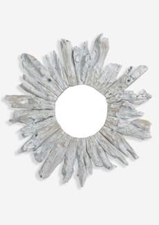 """(SP) 35"""" Round Fringe Antique Teakwood Mirror in White Wash (35x3x35).."""