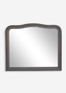 "44"" X 52"" Mirror with Solid Handcarved Wood Design -- Grey Wash"