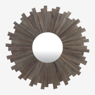 "43"" Sunburst Wood Round Mirror In Grey Wash (43x1.5x43)"
