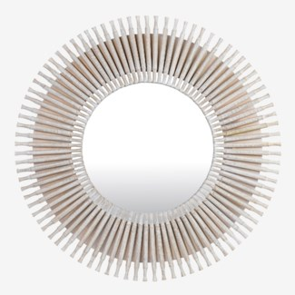 "47"" Cosmo Round Wooden Spoke Mirror -- White (47x1.5x47)"