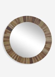 """37"""" Round Sunburst Wood Mirror -- Natural (37x1.5x37)"""