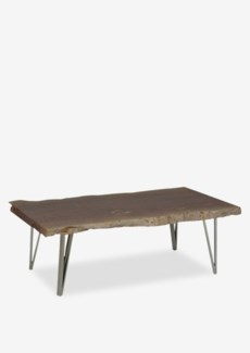 "(SP) Fairbanks 52"" Natural  Live Edge Wood Cocktail Table With Stainless Angled Legs (K/D)(52x24x18)"
