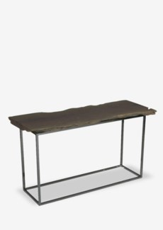 "Fairbanks 51"" Natural  Live Edge Wood Console Table With Stainless Cube Base (51x14x30)"