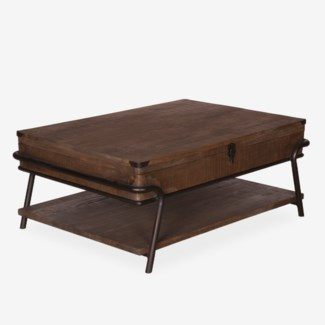 Gabriel Vintage Cocktail Table With Metal Accents (43x30x18)