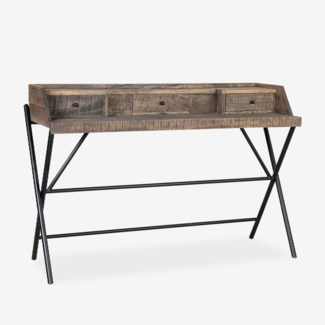 Gabriel Campaign Style Desk with Metal Base and 3 Drawers - K/D (53.5x18x36)