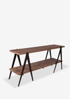 "Gabriel 71"" Console With Wood Shelves & Metal Swhorse Bases - K/D (71x17x32)"
