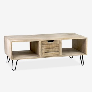 Brittany Coffee Table with Slat Front Drawer and 2 Cubbies (47.6x27.5x17.7)