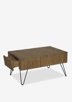 Sycamore vintage wash cocktail table with angle metal leg with 2 drawers (K/D)Dimension: 35x24x18