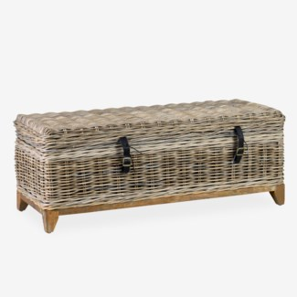 Bayside Storage Cocktail Table With Wood Base In Driftwood Rattan Finish (47x18x18)