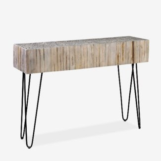 "Sycamore 43"" Grey Wash Console With Angle Metal Leg (K/D) (43x12x31)"
