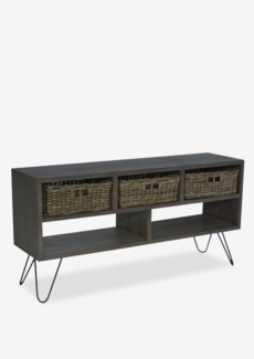 """Seabrook 51"""" TV Media Cabinet With 3 Driftwood Baskets And 2 Cubbies W/ Angle Metal Legs (K/D) (51x1"""