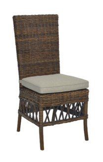 Eastport Side Chair With Natural Rattan Espresso Finish (19x23x41.5)