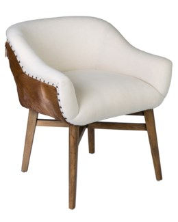 Angel Dining Chair (Back and side in goat hide (white))