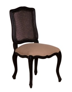 (LS) Arthur Dining Side Chair (upholstered seat and rattan cane back)-Vintage Black Frame(21,2x23x41