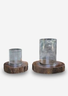 Glass Lantern on Wood Base Set-2 - Antique Brown (10x10x10/8x8x6.5)