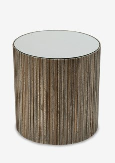 jules vertical wood line side table with mirror - round (16x16x16.5)