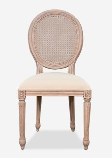 Louise Dining Side Chair (upholstered seat and rattan cane back) (20.5x21x40)