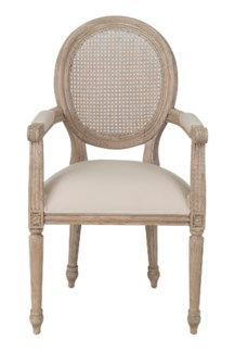 Louise Arm Dining Chair (upholstered seat and rattan cane back) (22x22x40,4)