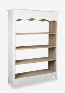 La Salle Open Bookcase (wide) - Vintage White Distressed & Rustic Antique Brown (49x16x70)