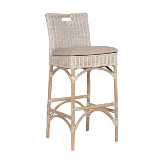Natural Rattan Barstool - grey wash