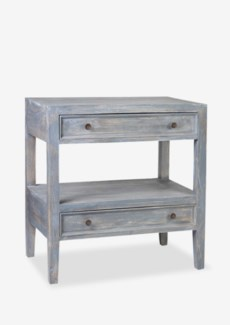 (LS) Promenade End Table with 2 drawers and 1 shelf-Grey Rustic (30X18X32)..
