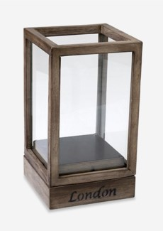 (LS) Wooden Single Lantern with Base-Vintage Grey Color..(8x8x14)..