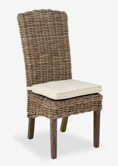 Seascape Driftwood Rattan Side Chair w/ cushion (18.5X24X42.5)