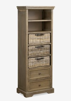 (SP) Simone Tall Bookcase (2 Drawers+3 Baskets+ 2 Shelves)-Grey (19X11X53)