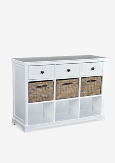 Wieland Sideboard (3 Drawers+3 Baskets+3 Shelves)- Solid White natural  (47X15X33.5)