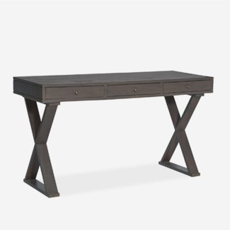 "(SP) Newbury 55"" Solid Wood Desk With X Base In Grey Wash (K/D) (55x22x30)"