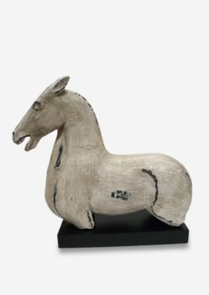 (SP) Antique Stone Horse Statue on Wood Base in White (18X7.5X17)....