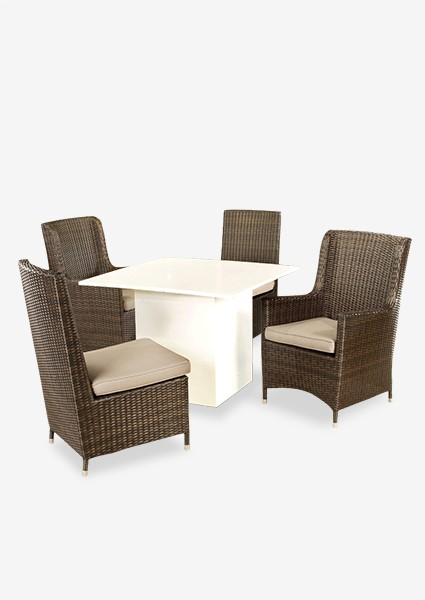 (LS) Watu Dining Table W/ 2 Cosy Side Chairs And 2 Cosy Arm