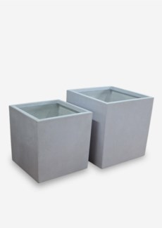 "Outdoor 23"" And 20"" Square Fiberglass  Reinforced Planter - In Cream Concrete Finish (23X23X23/ 20X2"