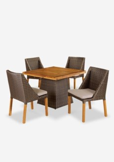 (LS) Pyramid Dining table with Four (4) Swooped Dining Chairs - Prussian Dark - Outdoor