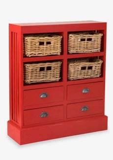 (LS) Nantucket Storage Cabinet (4baskets + 4 drawers) - Antique Red (30x9.5x35)