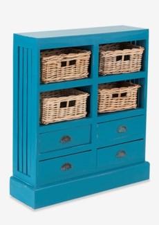 Nantucket Storage Cabinet (4baskets + 4 drawers) - Antq Sky Blue (30x9.5x35)