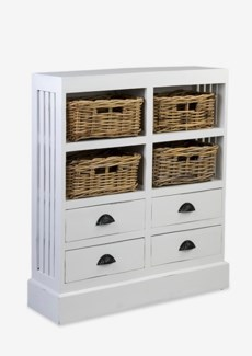 Nantucket Storage Cabinet (4baskets + 4 drawers) - Antique White (30x9.5x35)