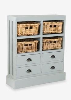 Nantucket Storage Cabinet (4baskets + 4 drawers) - Fog (30x9.5x35)