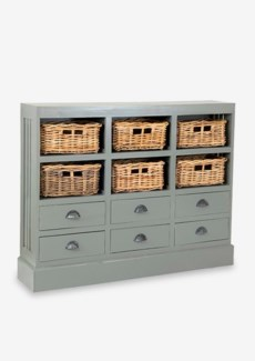 Nantucket Storage Cabinet (6 baskets+ 6 Drawers)Dark Grey (46x10x36)