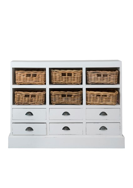 Nantucket Storage Cabinet(6 Baskets + 6 Drawers) Antiq White (46x10x36)