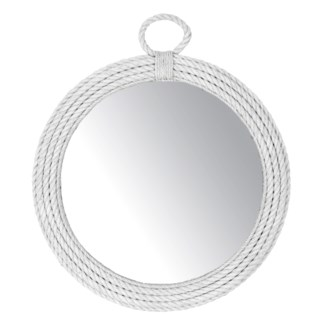 "31"" Aspen Round Natural Rope Mirror in White (31x2.5x31)"