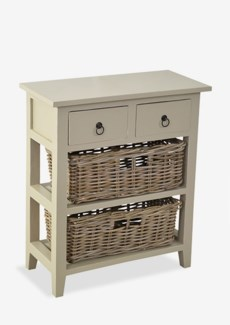Baker Cabinet with 2 Drawers and 2 Rattan Baskets-Grey Over White. 25,5x12x29,5