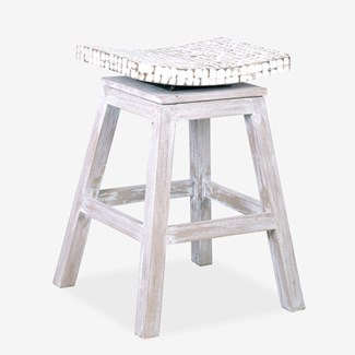 Cordova Counter Stool w/ Coconut Top-White Wash (17x17x24)