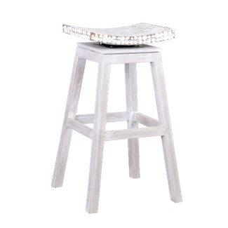 Cordova Bar Stool w/Coconut Top - White Wash (17x17x30)