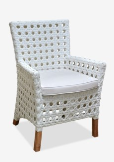 (LS) Derby Arm Chair W/ Sunbrella Cushion-Outdoor (Polystrap Milky White 15mm Ecolene) (25X25X35)