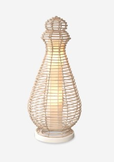 (LS) Orinda decorative floor lamp w/white wash rattan-L (19X19X40)
