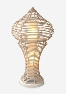 Siena decorative floor lamp L w/white wash rattan -M (21x21x40)