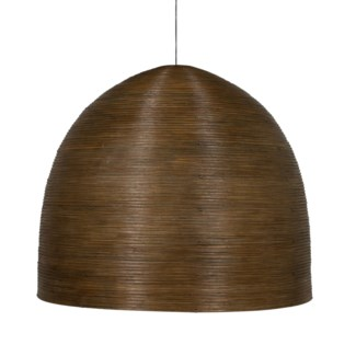 Spiral Dome Rattan Core Chandelier With 3 Bulbs in Brown Grey Wash Finish (35x35x31)