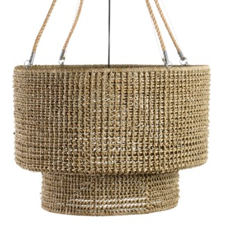 "36"" H Sultan Double Barrel Hand Woven Natural Rope Chandelier (31.5x31.5x36)"